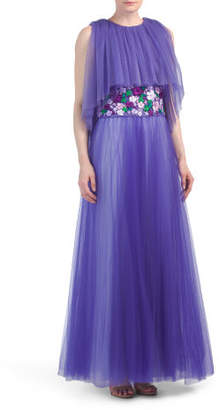 Popover Gown With Flower Detail