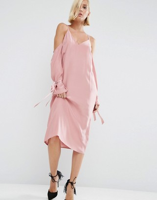 ASOS White ASOS WHITE 100% Silk Cami Dress With Sleeve Detail $128 thestylecure.com