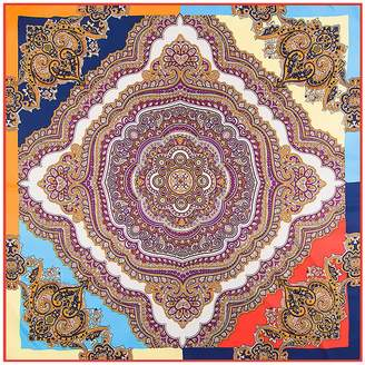 "Mulberry Anshili Women's Geometric-Pattern Natural Silk Square Scarf 40""x40"""