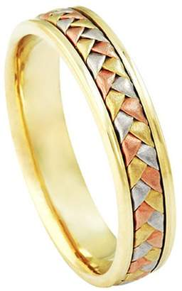 American Set Co. Men's Tri-color 18k White Yellow Rose Gold Woven 5.5mm Comfort Fit Wedding Band Ring size 8.75