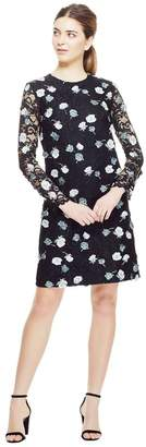 Lela Rose Floral Embroidered Lace Long Sleeve Tunic Dress