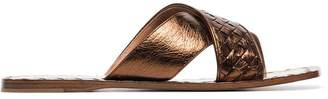 Bottega Veneta Metallic Intrecciato Criss Cross Sandals