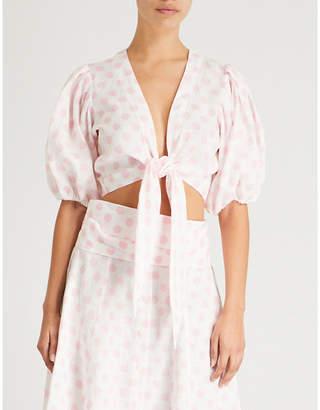 Lisa Marie Fernandez Tie-front polka dot linen blouse