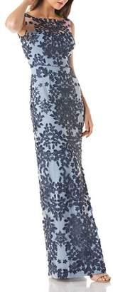 JS Collections Floral Appliqué Gown