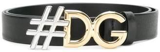 Dolce & Gabbana hashtag logo buckle belt