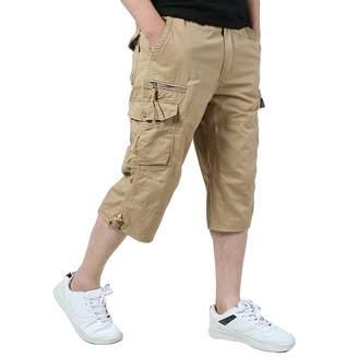 Merryway Men's Casual Twill Elastic Cargo Shorts Below Knee Loose Fit Multi-Pocket Capri Long Shorts (Black)