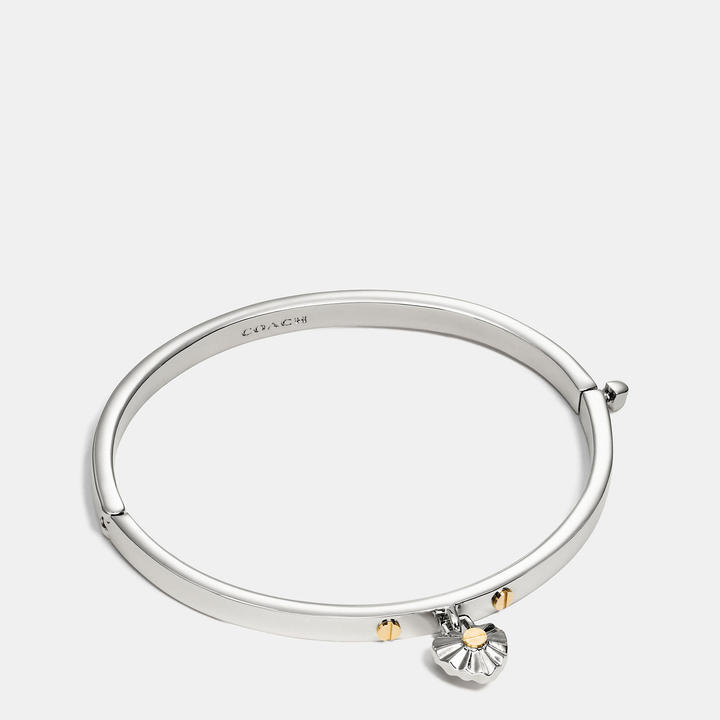 Coach   COACH Coach Daisy Rivet Heart Hinged Bangle