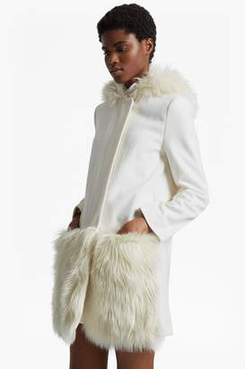 French Connenction Platform Felt Fur Trim Coat
