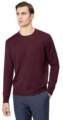 Mens Crew Neck Merino Wool Sweater Jumper Plain Wine Dark Red