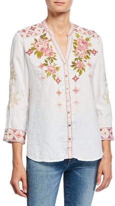 Johnny Was Yuki Embroidered Button-Down 3/4-Sleeve Linen Blouse