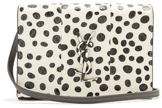 Saint Laurent Kate Polka Dot Small Snakeskin Cross Body Bag - Womens - Black White