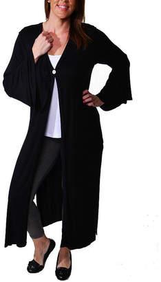 24/7 Comfort Apparel One Button Maxi Womens Cardigan-Plus