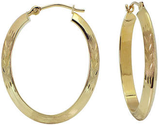 JCPenney FINE JEWELRY 14K Oval Diamond-Cut Hoop Earrings