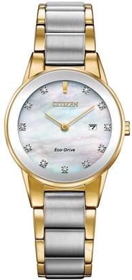 Citizen Eco-Drive Axiom Diamond Two-Tone Stainless Steel Bracelet Ladies Watch