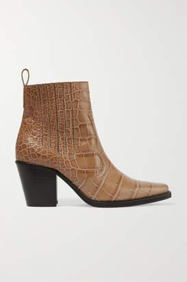 08679fb785e Ganni Callie Croc-effect Leather Ankle Boots - Neutral
