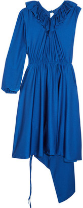 Vetements - Asymmetric Ruffled Stretch-satin Dress - Royal blue $1,665 thestylecure.com