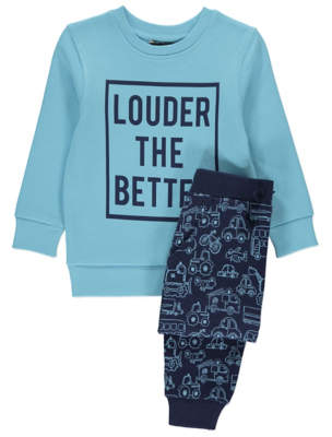 George Blue Slogan Sweatshirt and Joggers Outfit