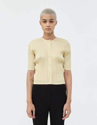 Pleats Please Issey Miyake Monthly Colors Cardigan in Cream