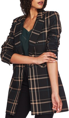 1 STATE 1.STATE Dynamite Plaid Ruched Sleeve Blazer
