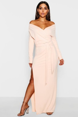 boohoo Off The Shoulder Wrap Thigh Split Maxi Dress