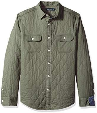 Nautica Men's Standard Long Sleeve Quilted Solid Button Down Shirt