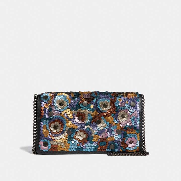 Coach Foldover Chain Clutch With Leather Sequin