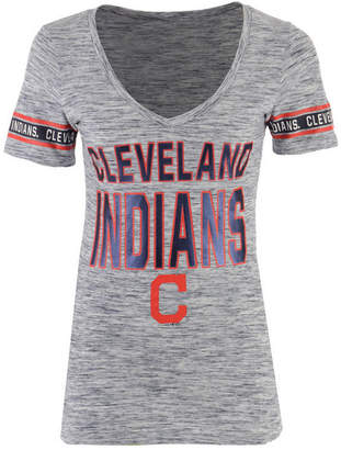 5th & Ocean Women's Cleveland Indians Space Dye Sleeve T-Shirt