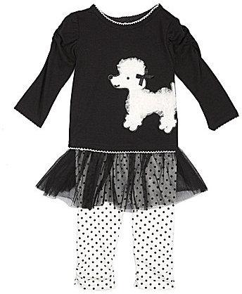 Nannette Newborn Poodle-Motif Top & Tutu Skeggings Set
