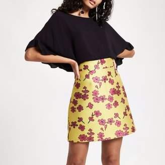 River Island Womens Yellow floral jacquard mini skirt