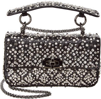 Valentino Small Embroidered Spike Leather Shoulder Bag