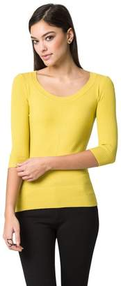 Le Château Women's Fitted 3/4 Sleeve Sweater,L