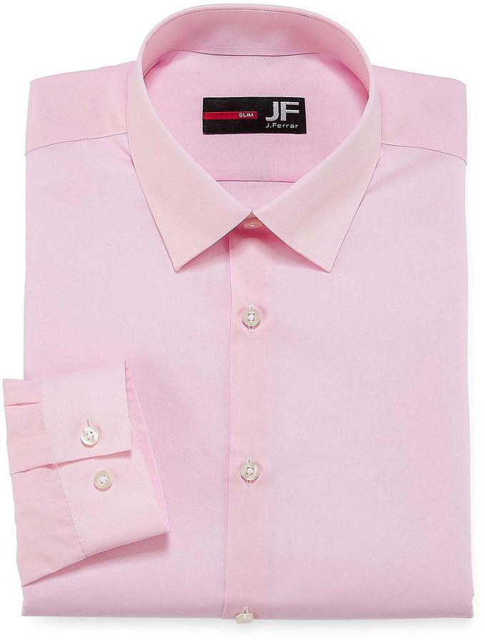 Jf j ferrar jf easy care solid slim fit long sleeve dress for J ferrar military shirt