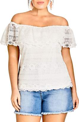 City Chic Summer Frill Lace Off the Shoulder Top