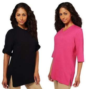 Denim & Co. Set of 2 Oversized Tunic Cotton T-shirts
