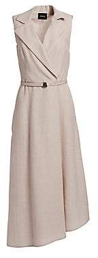 Akris Women's Wrap Effect Sleeveless Midi Dress