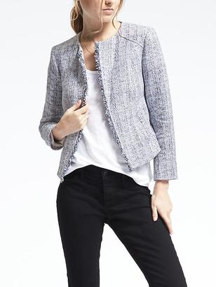 Collarless Boucle Jacket $148 thestylecure.com