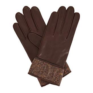 Gizelle Renee - Beatrisa Dark Brown Leather Gloves With Brown Speckle Wool