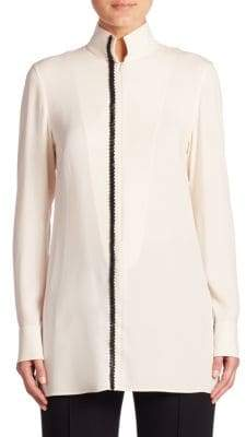 Akris Long-Sleeve Silk Crepe Tunic Blouse