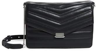 AllSaints Justine Medium Flap Leather Cross Body Bag
