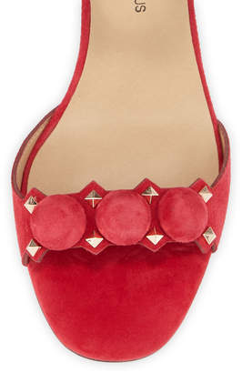 Neiman Marcus Lila Studded Suede Ankle-Strap Sandals, Red