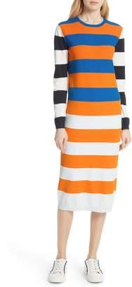 Tory Sport Broad Stripe Tech Knit Midi Dress