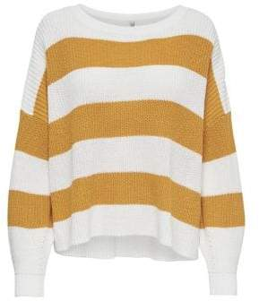 Only Campos Short Striped Oversized Knit Pullover