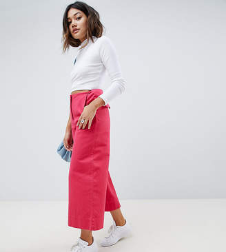 Asos (エイソス) - ASOS DESIGN Wide Leg Canvas Pants In Bright Pink