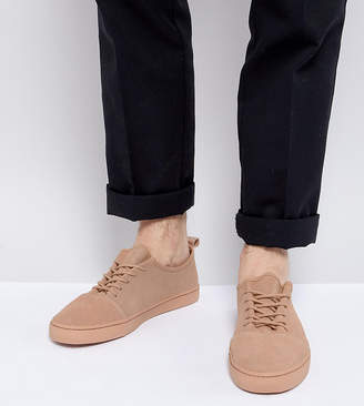 Asos Lace Up Sneakers In Pink Suede