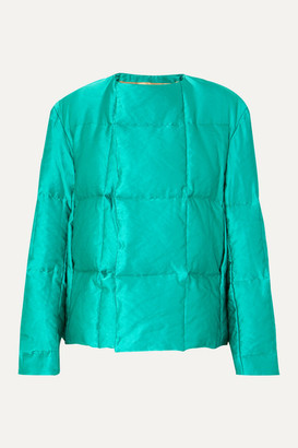 Dries Van Noten Vigo Quilted Satin Down Coat - Emerald