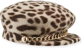 Eugenia Kim Sabrina Leopard Fur Newsboy Hat