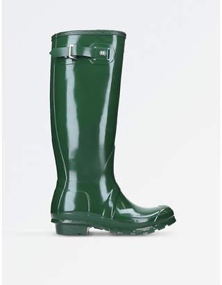 Hunter Ladies Green Waterproof Original Gloss Tall Rain Boots