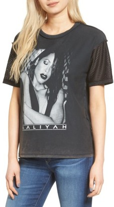 Women's Topshop By And Finally Mesh Sleeve Aaliyah Tee $52 thestylecure.com