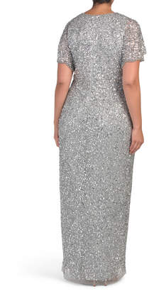 Adrianna Papell Plus Sequin And Beaded Gown