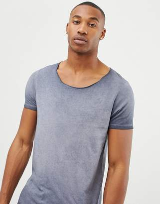 Asos DESIGN longline t-shirt with raw scoop neck in acid wash in gray
